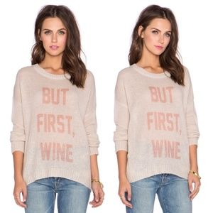 """The Laundry Room """"But First Wine"""" tan sweater"""